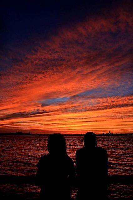 Sunset in Battery park, New York City.