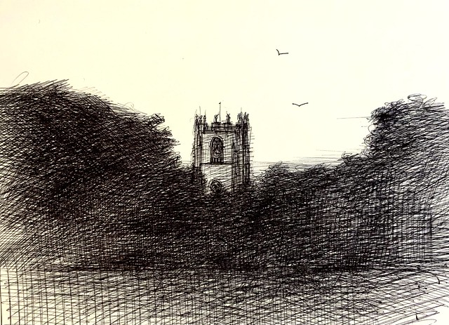 St Mary's Church from the Westwood, Beverley East Yorkshire. Ballpoint pen only sketch by jmsw on card.