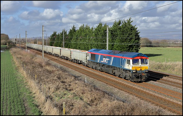 Approaching Haydock Branch Junction, GBRf 66747 'Made in Sheffield' 6F64 (14.10 Tuebrook Sdgs - Ashton in Makerfield Hanson) 25/02/21.