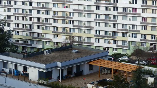 42 Saint-Etienne @ Les vues depuis le quartier de FAURIEL sur le sud de la ville, ce 15 fevrier 2021 depuis la tour Panoramic de RAYMOND MARTIN