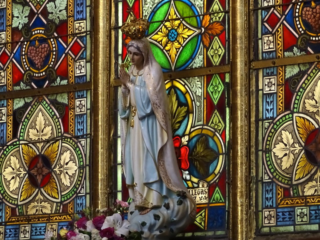 Virgin Figure with Stained Glass - Cathedral - Xalapa - Veracruz - Mexico