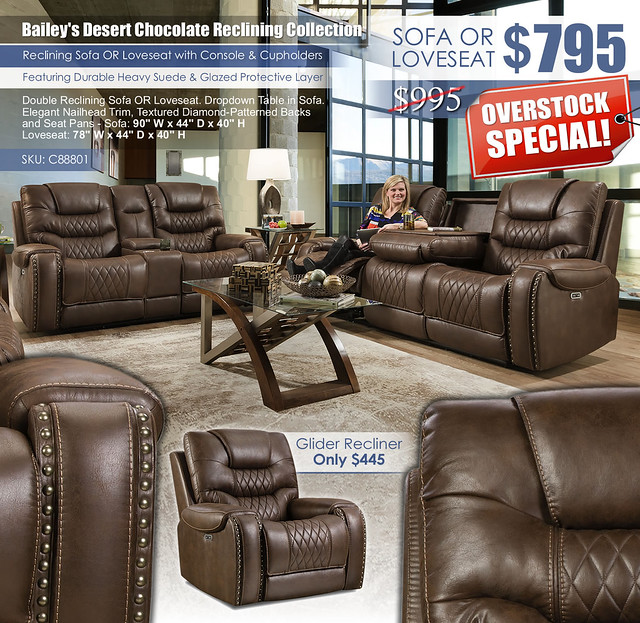 Baileys Desert Chocolate Reclining Sofa & Loveseat Set_C88801_2021_OverstockSpecial