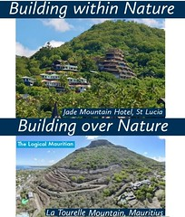 One is a hotel built on the slopes of a mountain, all after achieving Leadership in Energy and Environmental Design. @Jade Mountain u2800 u2800 The other is a mountain, part of which is being converted into concrete.u2800 @Legend Hill u2800 u2800 Source: https://buff.ly/3dOR