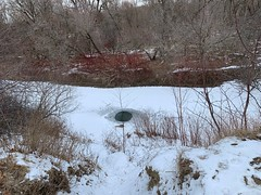 Duffins trail At Duffins Creek in the winter with snow on the ground , side path down hill to the creek , this very popular spot by fisherman trying their luck on a great catch , Discovery Bay , Ajax , Ontario , Canada , February 15. 2021