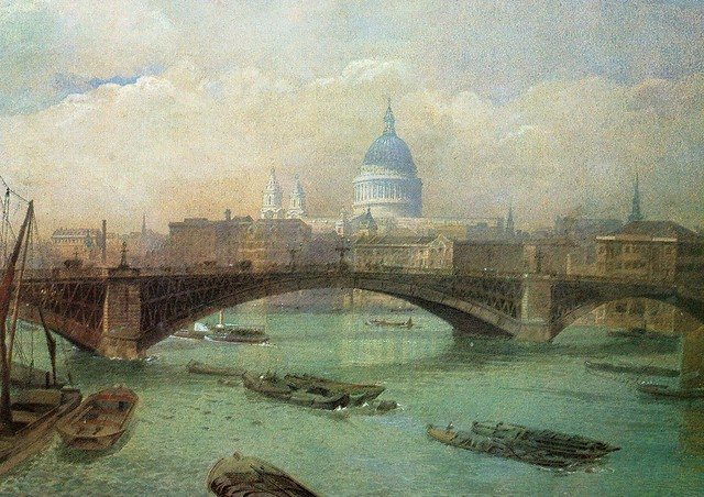 John Crowther -  ''St. Pauls Cathedral beyond Southwark Bridge'' (The Medici Society - London)
