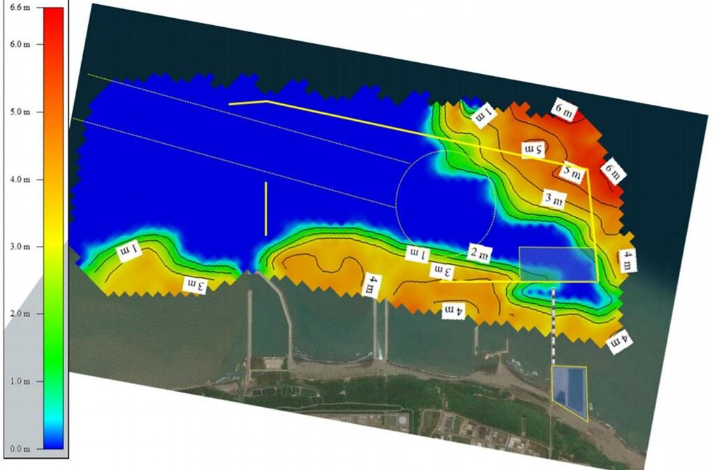 觀塘工業專用港區海底沙土沉積層分佈等值圖。圖片來源:環評書件