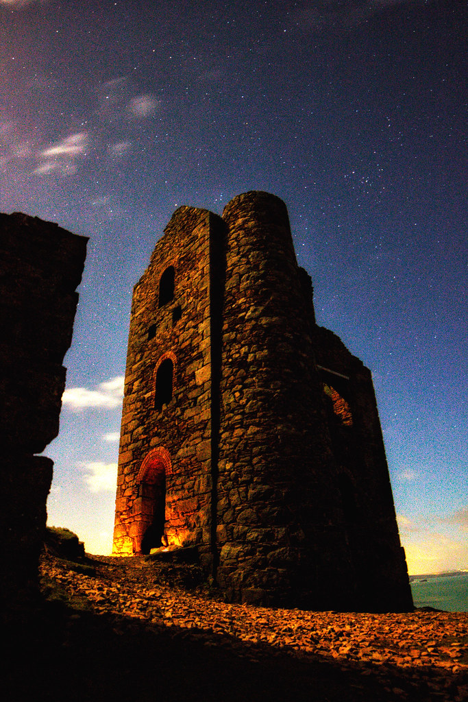 Night photography Wheal Coates St Agnes