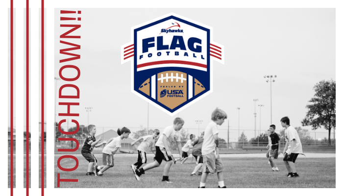 Children playing football with the word touchdown on the side, Skyhawks Flag Football powered by USA Football logo