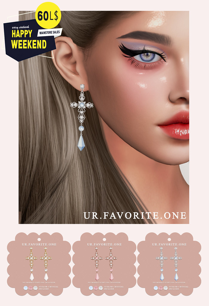 ::{u.f.o}::cross crystal earrings @ HW
