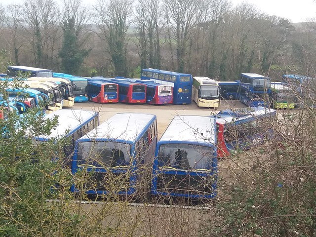 Lots of Go South Coast buses are parked at the Mountjoy outstation on the Isle of Wight