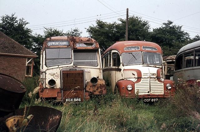 Mulleys Motorways . Ixworth , Suffolk . KGX885 & CCF897 . Ixworth  garage , Suffolk . August-1973 .
