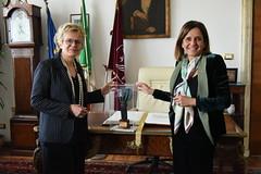 la rettrice Antonella Polimeni con l'accademica e senatrice Elena Cattaneo