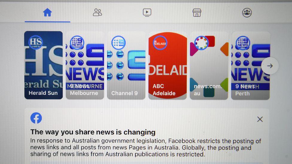 澳洲立法要求臉書為刊登新聞付費,引發臉書封鎖當地媒體反制。(圖片來源:BBC)