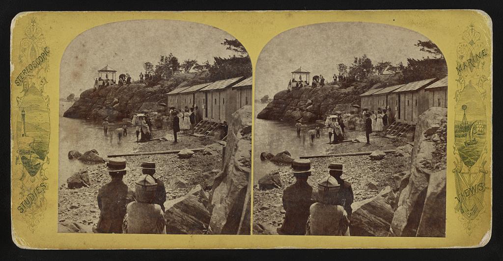 Identified! [Bathing houses at Downer Landing (or Downer's Landing), Boston, Massachusetts] (LOC)