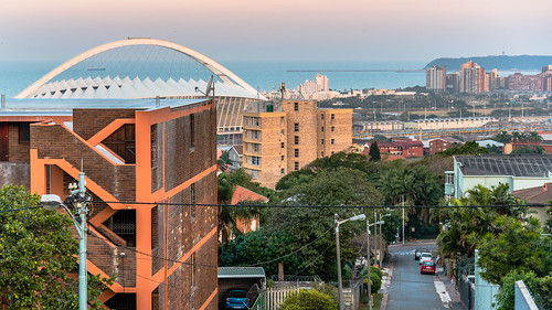outdoor southafrica africa berea cityscape durban evening kwazulunatal mosesmabidhastadium stadium twilight 体育场 南非 夸祖鲁纳塔尔省 市容 德班 暮 暮色 非洲