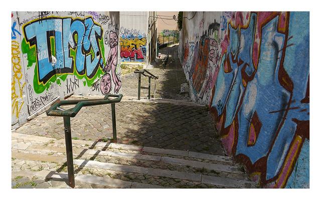 Down a Graça stairway