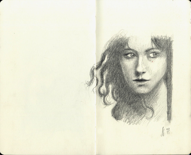Young pretty face in graphite