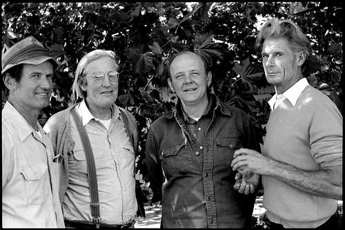 Richard Wilson, Page Smith, Paul Lee, Alan Chadwick at the farm in Covelo, California 1974