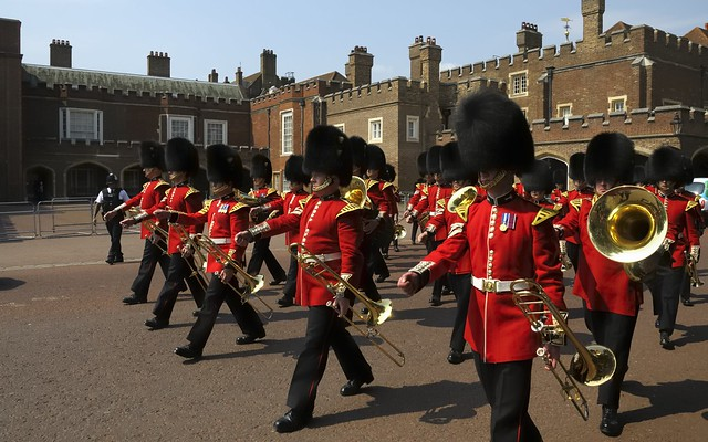 Redcoats, marching, London