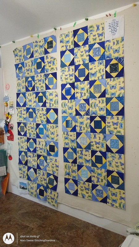 Emily's quilt partially assembled