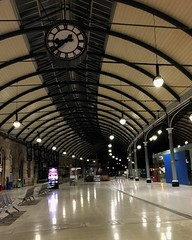 Newcastle Central Station at night