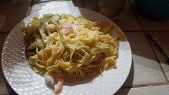 Shrimp scampi with tagliatella instead of fettuccini because that's what I had on hand