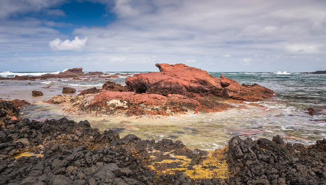 Red rock outcrop Kitty Miller Bay