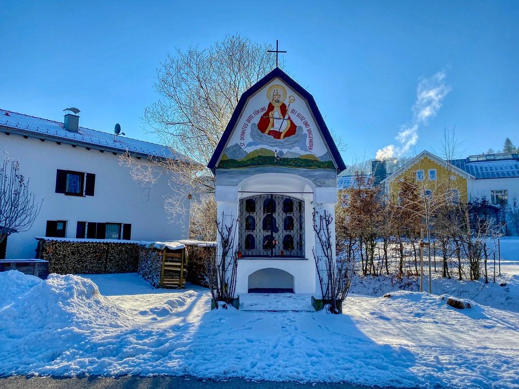 Vierzehn Nothelfer chapel in Oberaudorf in winter in Bavaria, Germany