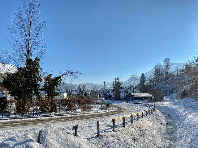 Oberaudorf winter impressions with frozen Rothenbach creek in Bavaria, Germany