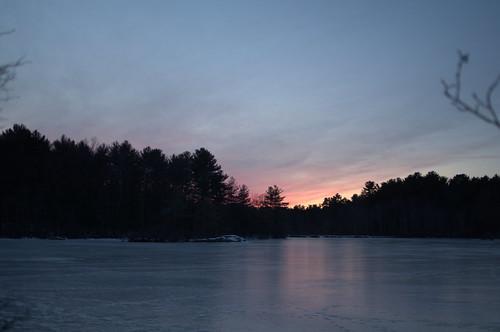 sunset ice frozen reflection tree silhouette pond lake stearnspond haroldparker massachusetts sky cloud skyscape evening night nature landscape color