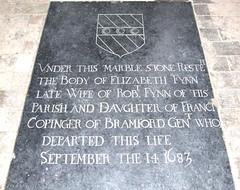 under this marble stone resteth the body of Elizabeth Fynn