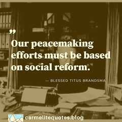 """Christu2019s message of peace is, 'Love those who hate you, do good to those who persecute you'... I know that for many in todayu2019s society this word is the voice of someone crying in the wilderness... our peacemaking efforts must be based on social reform. I"