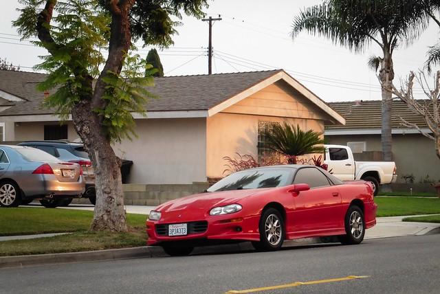 Red Camaro with Jellybean Headlights