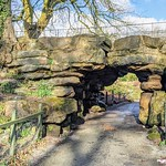 Stone arch at the gardens in Moor Park, Preston