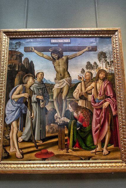 PERUGINO  Crocifisso con santi Girolamo Francesco Maria Maddalena Giovanni Battista e beato Giovanni Colombini(Galleria Uffizzi)