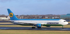 """UK67001 Uzbekistan Airways Boeing 767-33P(ER)(BCF) arrived from and departs to Tashkent as """"UZB3558"""" after PPE drop off. 25/2/21"""