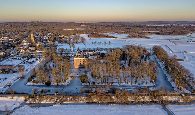 Aerial Amerongen castle at sunset (in Explore 28-02-2021)
