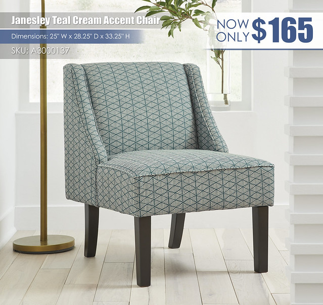 Janesley Teal Cream Accent Chair_A3000137