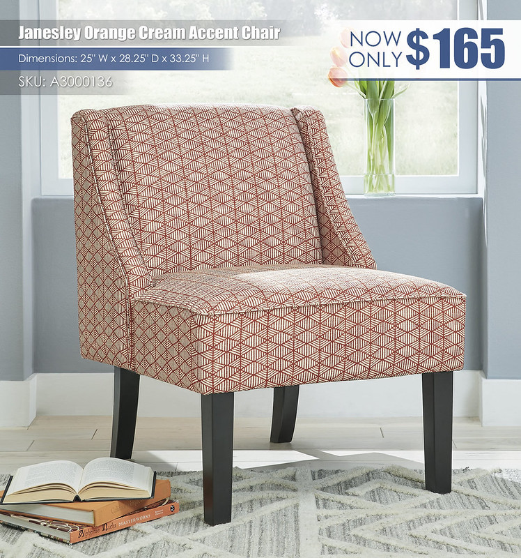 Janesley Orange Cream Accent Chair_A3000136