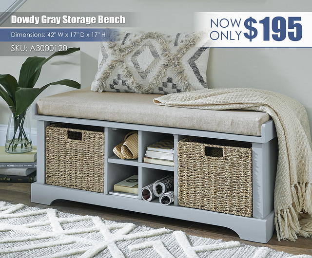 Dowdy Gray Storage Bench_A3000120