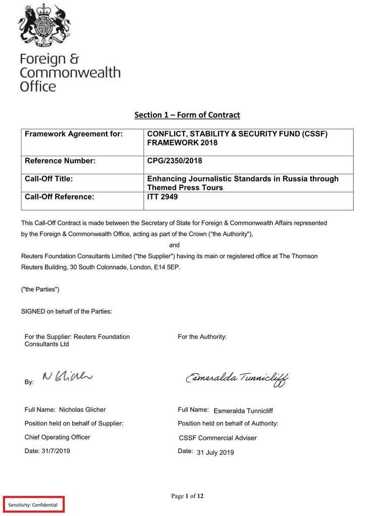 Contrat de Reuters avec le ministère britannique des Affaires étrangères
