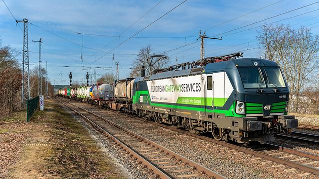 ELL/RTBCargo 193 732-5 mit einem Containerzug am 20.02.2021 in Saarmund