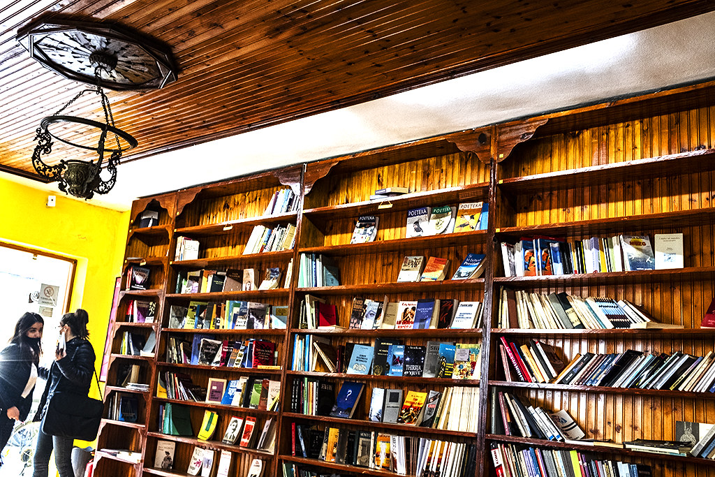 Cafe and bookstore near American Embassy on 2-27-21--Tirana