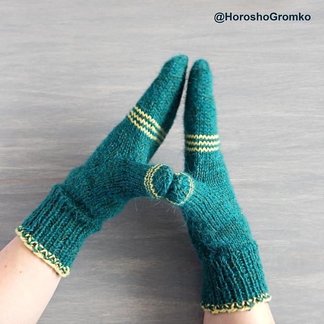Простые варежки спицами на 48 петлях - инструкция и фотографии | HoroshoGromko.ru