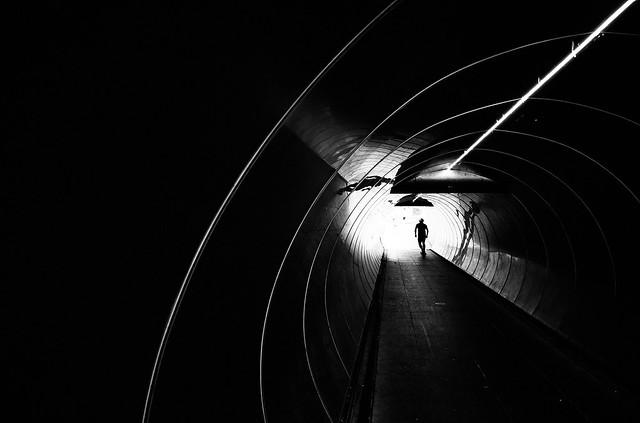 Skateboarding through the tunnel