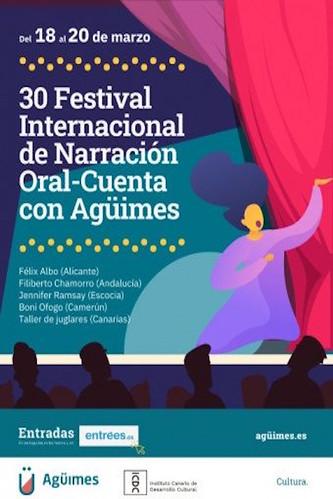 """Cartel del 30 Festival Internacional de Narración Oral """"Cuenta con Agüimes"""""""