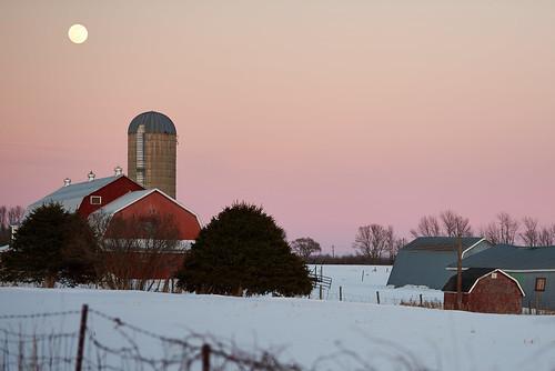 moon barn redbarn red sunset rural farm