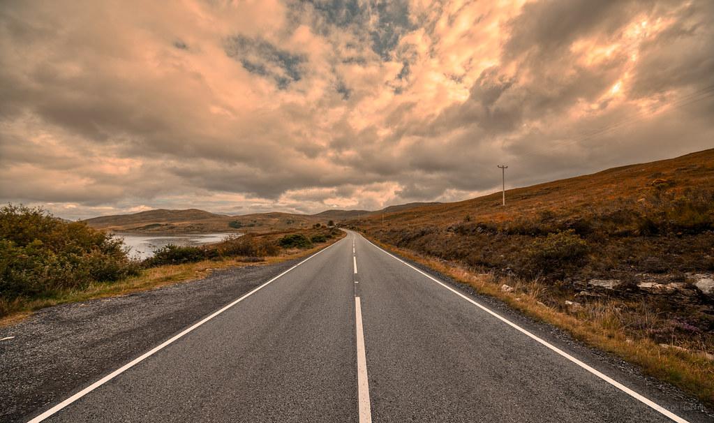 A87 next to Loch Ainort, Skye, Scotland.