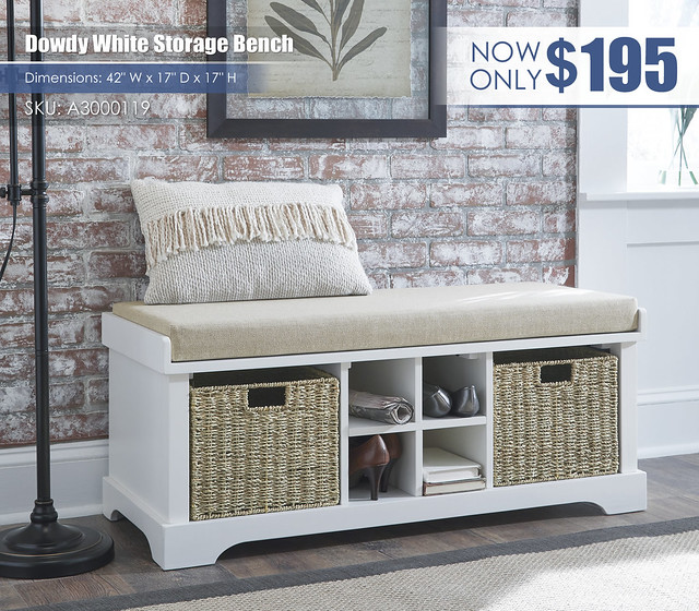 Dowdy White Storage Bench_A3000119