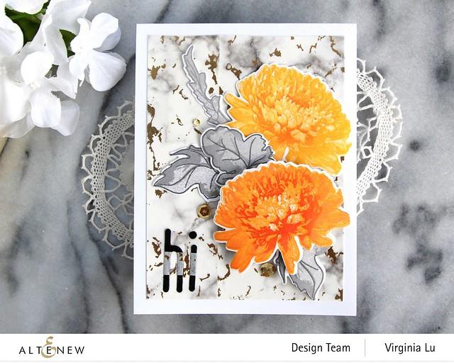 Altenew-BAF Semi Double Chrysanthemum-Foiled Marble Washi Tape-Tall Alpha Die Set-003